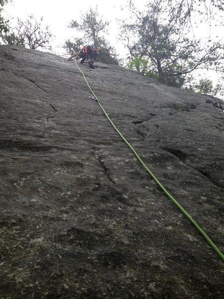 just past the 2nd bolt. some really fun friction climbing!