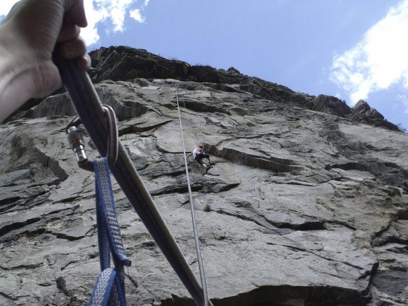 Rock Climbing Photo: Friend Barb Climbing Guppy