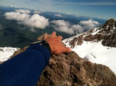 Rock Climbing Photo: Reaching out to touch the highest point of the &qu...