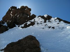 Rock Climbing Photo: Last snowfield up high, last piece of the West Rid...