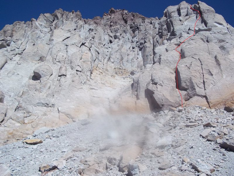 Rock Climbing Photo: Approximate line in stripped summer conditions... ...