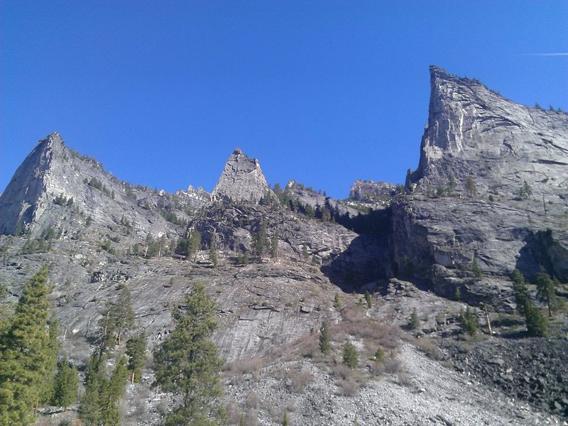 Flathead Buttress, Shoshone and Nez Perce (left to right)
