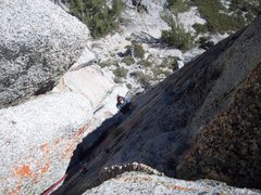 Rock Climbing Photo: Looking Down P1 from belay