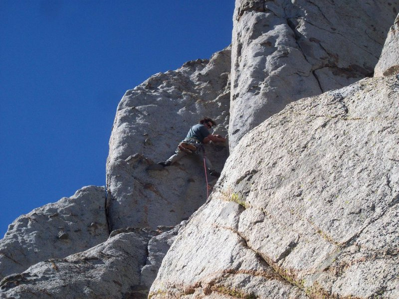 Traverse from ledge then go up to get to the corner on P2.