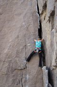 Rock Climbing Photo: Hjordis stems a little further up the crack