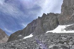 Rock Climbing Photo: snowfield and Venusian Blind/Moon Goddess approach...