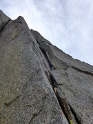 Rock Climbing Photo: looking up at the 5.8 section