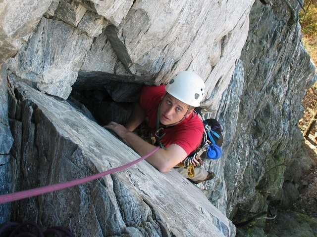 Rock Climbing Photo: Pondering the next pitch on Zoo View, Moores Wall ...