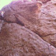 Rock Climbing Photo: Gobbling gear mid way up.