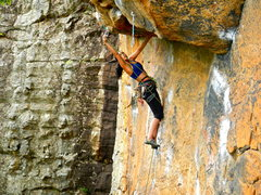 Rock Climbing Photo: long clip out to the roof holding onto a flake. Th...