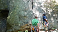 Rock Climbing Photo: Bud sizing up the route after my failed onsight at...