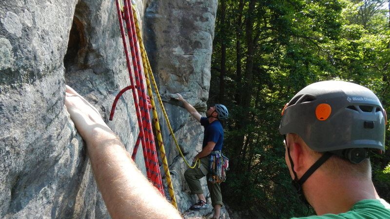 From the P2 belay.  This route can be done as one pitch with proper extensions, but we were in no hurry so we did it in 2.