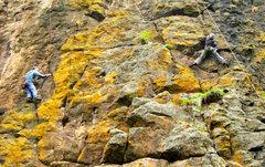 Rock Climbing Photo: Crimpin on the basalt!