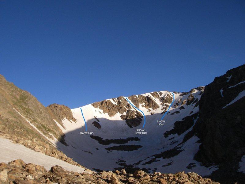 Rock Climbing Photo: Major named routes on Jasper's E. face.