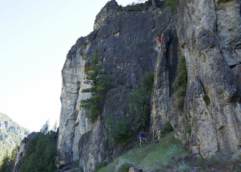 Rock Climbing Photo: Michele is the first one up the new climb to test ...