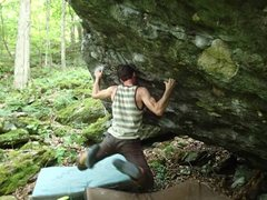 "Rock Climbing Photo: Aaron Parlier sending ""The Declaration"""
