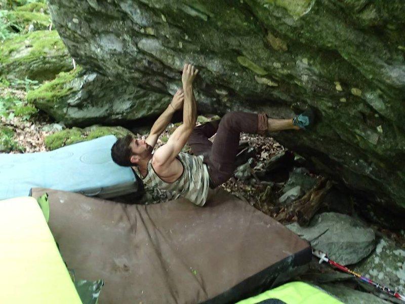 "Rock Climbing Photo: Aaron Parlier pulling the start on ""The Decla..."