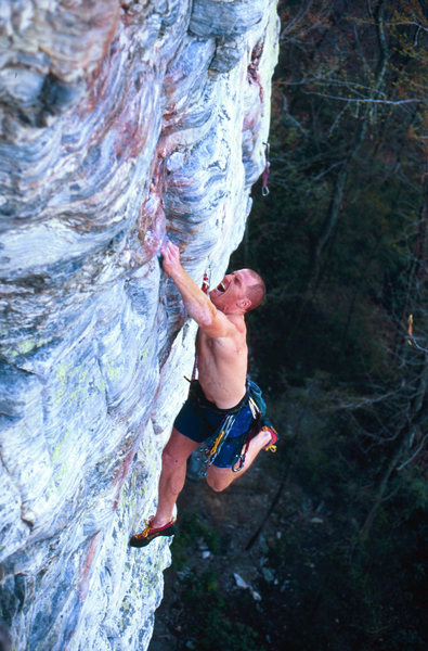 Seth Tart barely salvaging a foot slip in mid crux<br> Photo By Chris Huffine