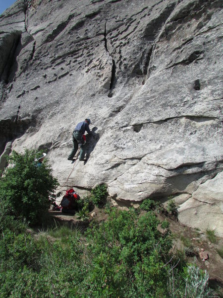 This is the start common to 3 routes on the East Face; Ralph leading.