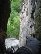 Rock Climbing Photo: Looking down from the chimney on P2