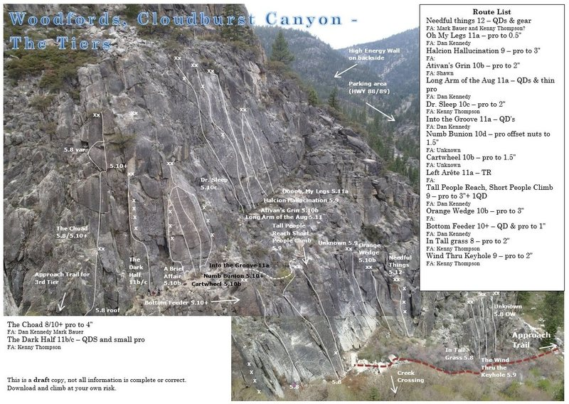 Rock Climbing Photo: A working copy of my Tiers topo.