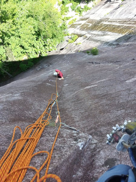 Pitch 1 from the hanging belay.