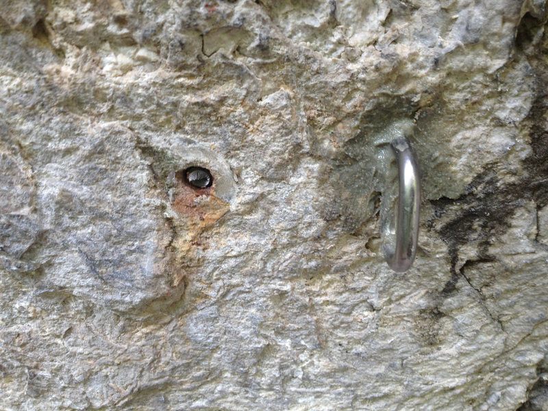 """Rock Climbing Photo: Old and new 1st bolt, a 1/2"""" glue-in WaveBolt..."""