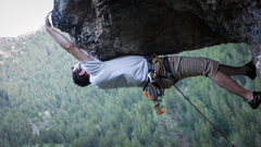 Rock Climbing Photo: Big reach under the roof