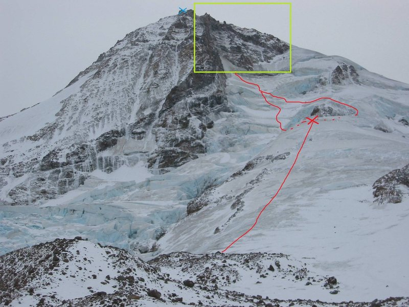 Rock Climbing Photo: Red X is top of Snow Dome, Green Box is the Headwa...