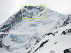 Rock Climbing Photo: red X is top of snow dome, green box is HW