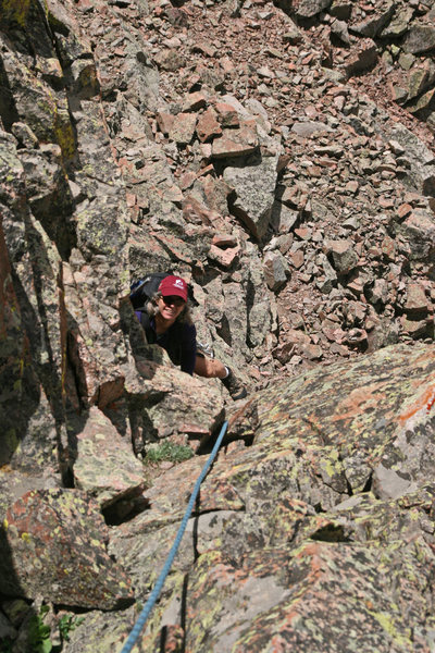 Rock Climbing Photo: Katie just past the crux. On descent, we rappelled...
