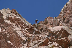 Rock Climbing Photo: The crux pitch. Elke descending. The climbing pitc...