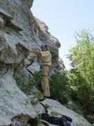 Rock Climbing Photo: Fritz, ready to begin Raindance.