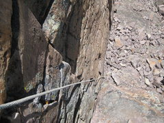 Rock Climbing Photo: Looking down the short 5th class section of the Di...