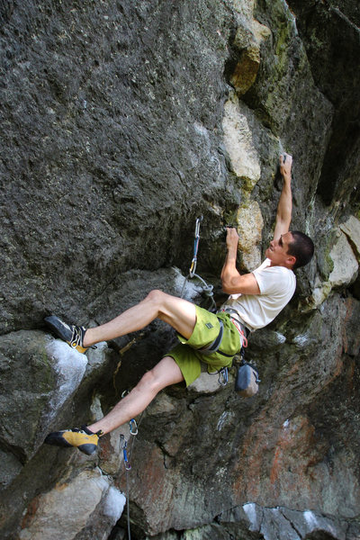 Rock Climbing Photo: keith in the upper business...
