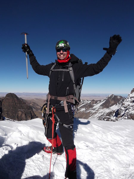 Summit of pequeno alpamayo, bolivia.