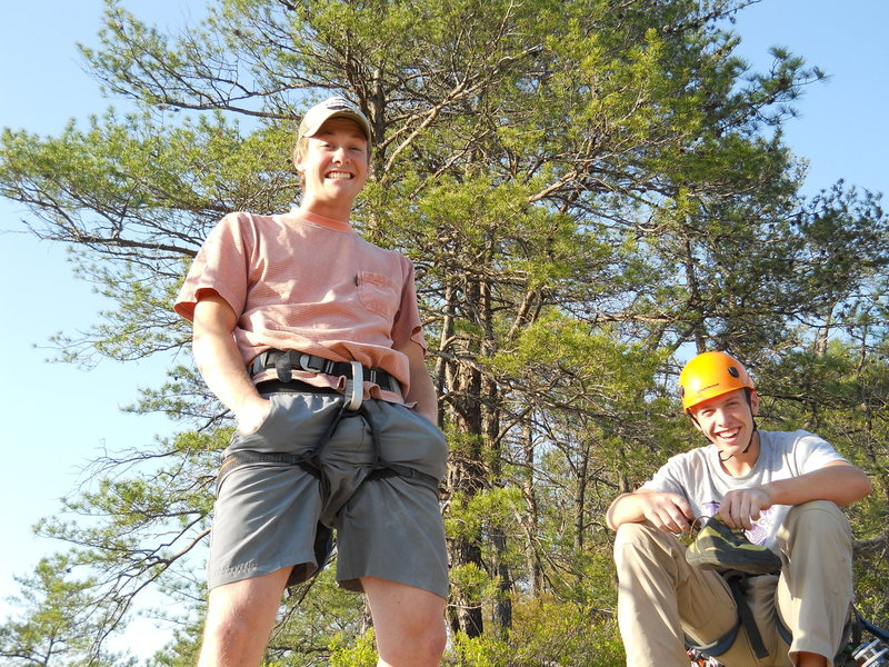 Rock Climbing Photo: Two friends smiling after a first free-solo and fi...