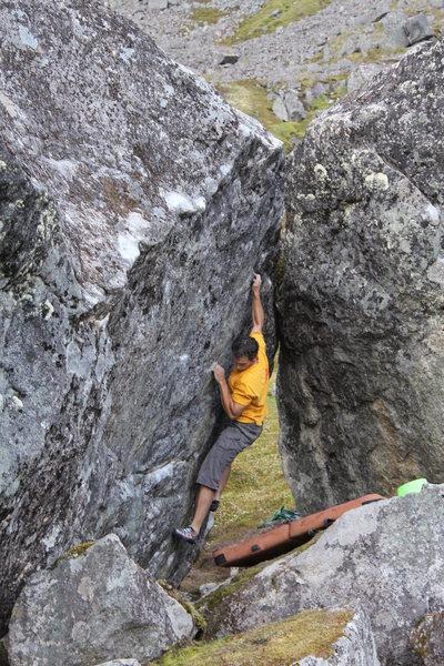 Todd Helgeson on Rock Biter.