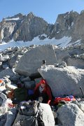 Our bivy on the toe of the moraine right below underhill