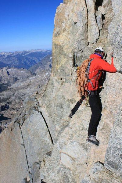 Rock Climbing Photo: Working across the gap between the 3rd class slabs...