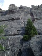 Rock Climbing Photo: Looking up at BB. Start just right of the small bi...