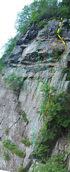 Composite image of the morning wall, route lines made as a best guess based on the guidebook.  I could see the first bolt where the routes branch, all the others are guestimates.   Blue = Morning Sickness 5.11b PG, Orange = Morning Wall 5.9 PG, Green = Subterranian Humanoid Lobes 5.9 G