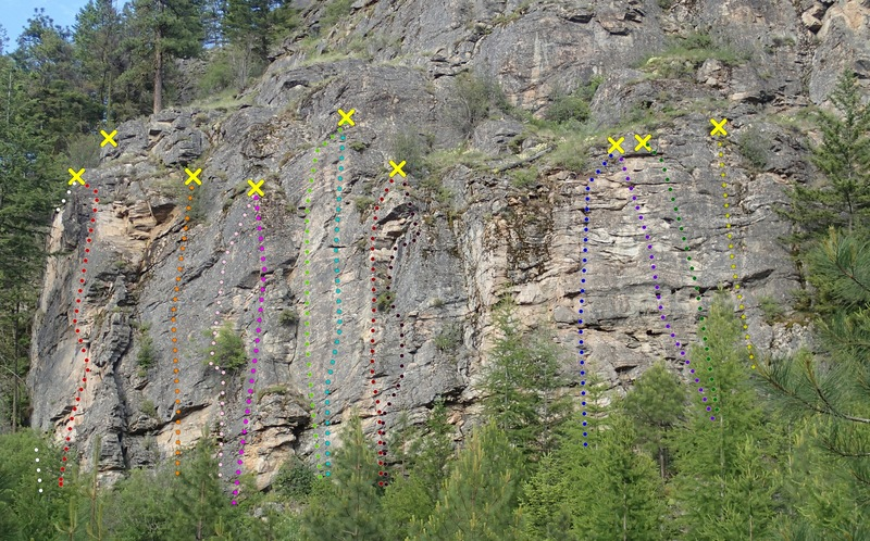 Rock Climbing Photo: Western Front - Lower Wall topo from the west.