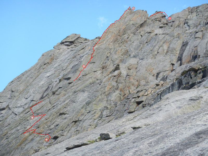 Our adventurous approach pitches along with a view of the arete. The climbing on the approach was 5.9 or less but sketchy and awkward in places.