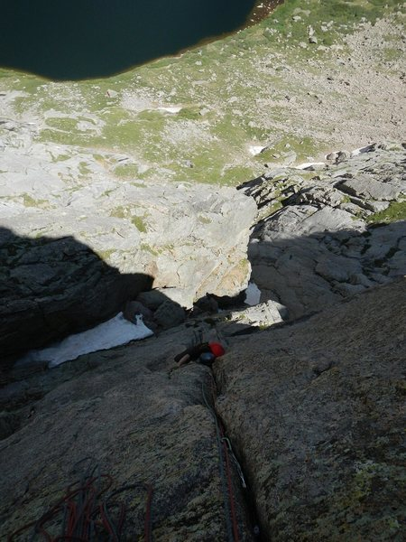 Rock Climbing Photo: Working the OW crux with a pack on. The probable b...