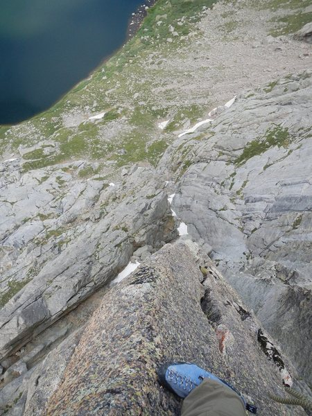 Looking down the fantastic arete on P2.