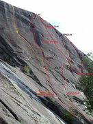 Rock Climbing Photo: Topo of routes from Native Dance to Groove Thang. ...