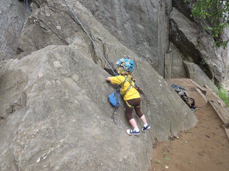 Any boulder will do for the littlest ones.