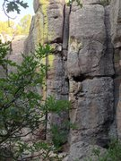Rock Climbing Photo: Ascending the single crack on the right down low, ...