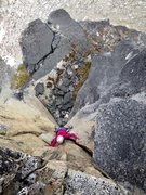 Rock Climbing Photo: Adrienne Kentner following the steep 5.10- fist cr...